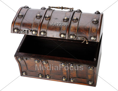 Open Wooden Chest, Isolated On A White Background. Stock Photo