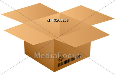 Opened Cardboard Bow With Bar Code Stock Photo