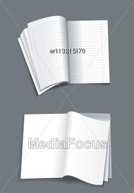 Opened Notebook Isolated On White Background Stock Photo