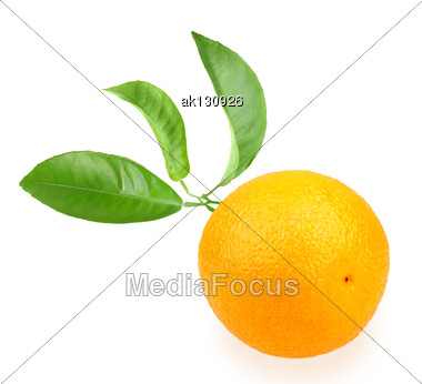 Orange And Branch With Green Leaf On Back. Placed On White Background. Close-up. Studio Photography Stock Photo