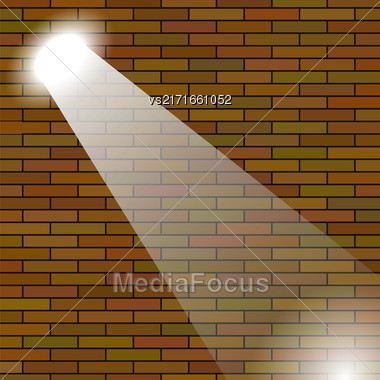 Orange Brick Wall Illuminated Beam Of Light Stock Photo