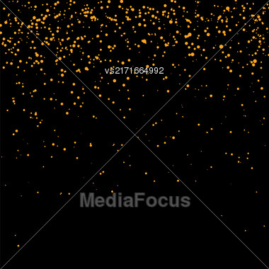 Orange Confetti Isolated On Black Background. Abstract Orange Parts Stock Photo