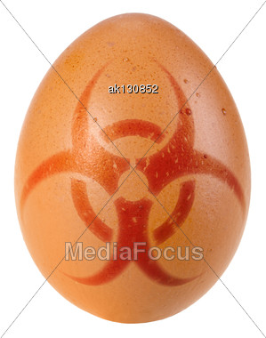Orange Egg With Biohazard Warning Sign. Art Design. Stock Photo