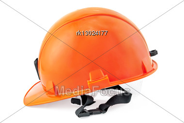 Orange Helmet Is Isolated Stock Photo