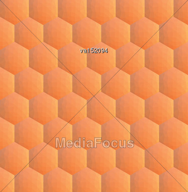 Orange Hexagonal Low Polygon Background Vector Illustration Stock Photo