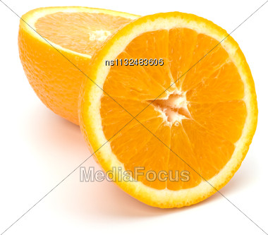 Orange Isolated On White Background Close Up Stock Photo