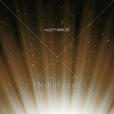 Orange Magic Sky Background. Wave Orange Starry Heaven Stock Photo