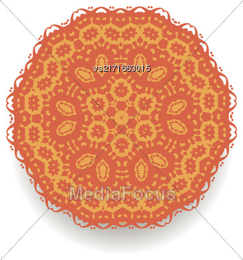 Orange Mandala Isolated On White Background. Round Ornament Stock Photo