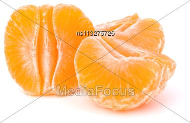 Orange Mandarin Or Tangerine Fruit Isolated On White Background Stock Photo
