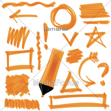 Orange Marker Isolated On White Background. Set Of Graphic Signs. Arrows, Circles, Correction Lines Stock Photo