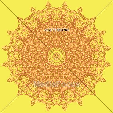 Orange Ornamental Line Pattern. Decorative Texture. Oriental Geometric Ornament Stock Photo