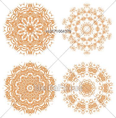 Orange Ornamental Line Pattern. Endless Texture. Oriental Geometric Ornament Stock Photo