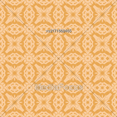 Orange Ornamental Seamless Line Pattern. Endless Texture. Oriental Geometric Ornament Stock Photo
