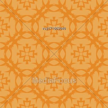 Orange Ornamental Seamless Line Pattern. Endless Texture. Oriental Geometric Ornament Stock Photo