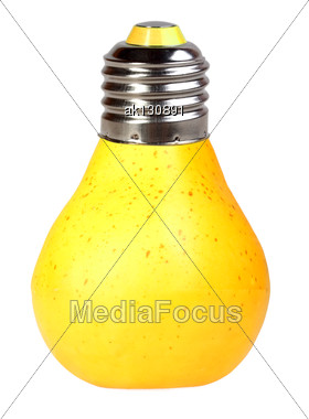 Orange Pear As Bulb-form Lamp. Isolated On White Background. Art Design. Studio Photography Stock Photo