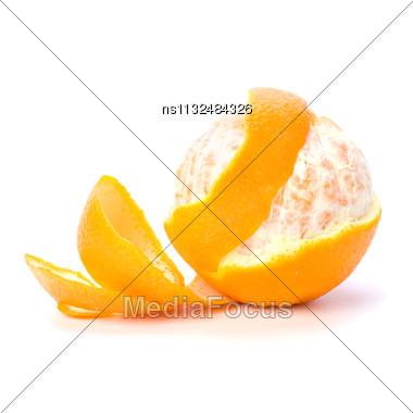 Orange With Peeled Spiral Skin Isolated On White Background Stock Photo