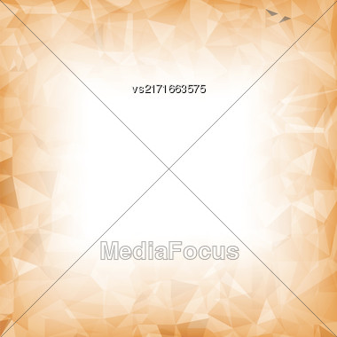 Orange Polygonal Background. Orange Crystal Triangle Pattern Stock Photo
