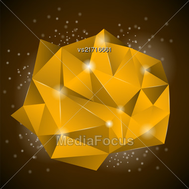 Orange Polygonal Stone Isolated On Dark Background Stock Photo