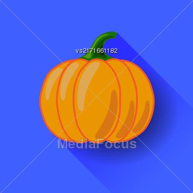 Orange Pumpkin Icon Isolated On Blue Background. Long Shadow. Symbol Of Halloween Stock Photo