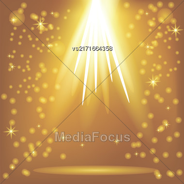 Orange Rays Of Magic Lights On Blurred Starry Background. Night Sky Stock Photo
