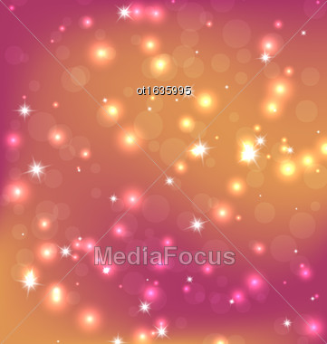 Orange Red Abstract Christmas Background With Bright Stars, Bokeh And Snowflakes. Vector Graphics Stock Photo