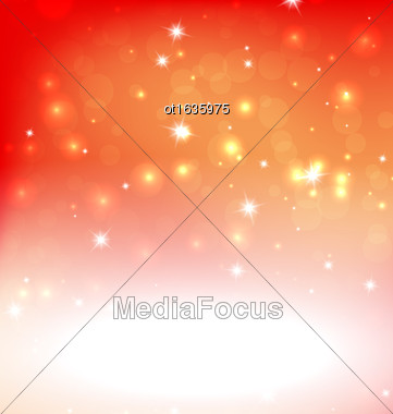 Orange Red Background - Vector Illustration, Graphic Design Useful For Your Design. Bright Orange Red Abstract Christmas Background With White Snowflakes. Bokeh Effect. Space Your Text Stock Photo