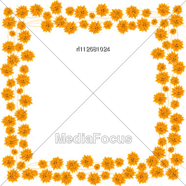 Orange Roses Border For Your Design Stock Photo