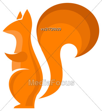 Orange Squirrel Icon Isolared On White Background. Omnivorous Rodent With Fluffy Tail Stock Photo