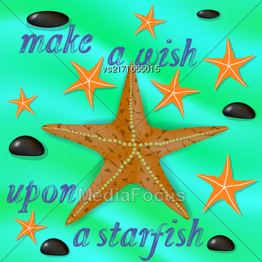 Orange Starfish And Stones On Azure Wave Water Background. Positive Summer Banner With Grunge Lettering Stock Photo