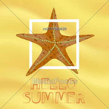 Orange Starfish And White Frame On Yellow Sand Beach Background. Hello Summer Positive Banner Stock Photo