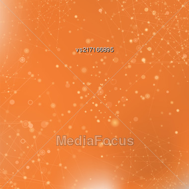Orange Technology Background With Particle, Molecule Structure. Genetic And Chemical Compounds. Communication Concept. Space And Constellations Stock Photo