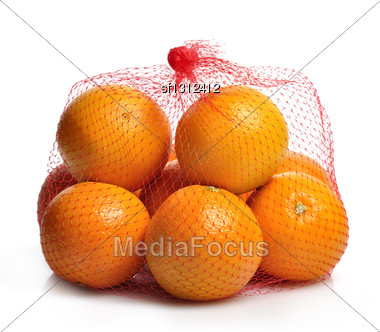 Oranges In A Bag Stock Photo