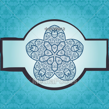 Oriental Mandala Motif Round Lase Pattern On The Blue Background, Like Snowflake Or Mehndi Paint In Light-blue Color. Ethnic Backgrounds Native Art Concept Stock Photo