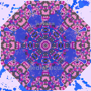 Oriental Mandala Motif Round Lase Pattern On The Blue Background, Like Snowflake Or Mehndi Paint In Light-blue Color. What Is Karma? Ethnic Backgrounds Native Art Concept Stock Photo