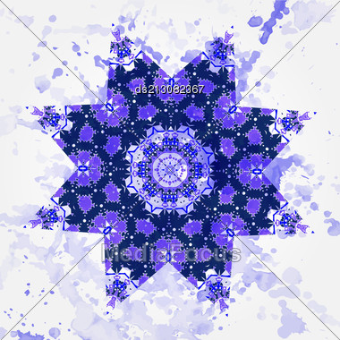 Oriental Mandala Motif Round Lase Pattern On The Gray Background, Like Snowflake Or Mehndi Paint In Light-blue Color. What Is Karma? Ethnic Backgrounds Native Art Concept Stock Photo