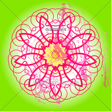 Oriental Mandala Motif Round Lase Pattern On The Green Background, Like Snowflake Or Mehndi Paint In Light-blue Color. Ethnic Backgrounds Native Art Concept. What Is Karma Stock Photo