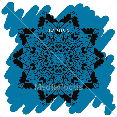 Oriental Mandala Motif Round Lase Pattern On The Blue Background, Like Snowflake Or Mehndi Paint In Light-blue Color. Ethnic Backgrounds Native Art Concept. What Is Karma Stock Photo