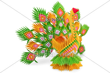 Origami As A Yellow-green Bird With The Iridescent Tail Is Isolated Stock Photo