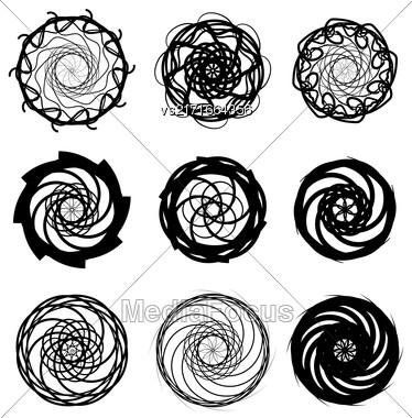 Ornamental Circle Symbols Isolated On White Background Stock Photo