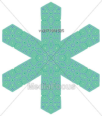 Ornamental Green Pattern Isolated On White Background. Creative Decorative Symbol Stock Photo
