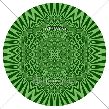 Ornamental Green Round Pattern Isolated On White Background Stock Photo