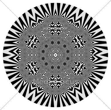 Ornamental Grey Round Pattern Isolated On White Background Stock Photo
