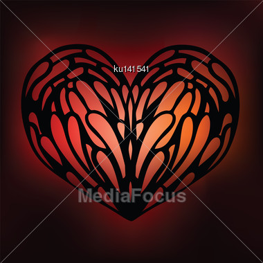 Ornamental Heart. Love. Hand Drawn Vector Background Stock Photo