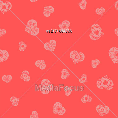 Ornamental Heart Random Seamless Pattern On Pink Background Stock Photo