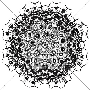 Ornamental Mandala Silhouete Isolated On White Background Stock Photo