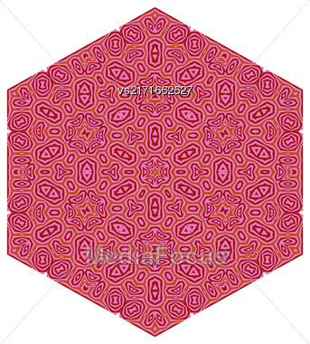 Ornamental Pink Pattern Isolated On White Background Stock Photo
