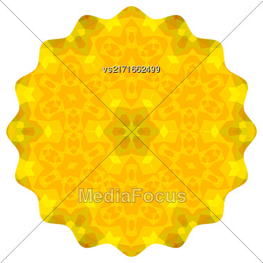 Ornamental Yellow Round Pattern Isolated On White Background Stock Photo