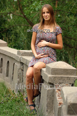 Outdoor Photo Of Pregnant Woman Stock Photo