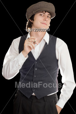 Outmoded Ironically Smiling Man With A Cigarette. Stock Photo
