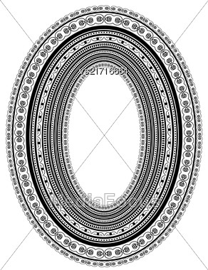 Oval Vintage Frame Isolated On White Background Stock Photo